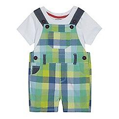 bluezoo - Baby boys' multi-coloured checked dungarees and top set