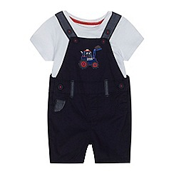 bluezoo - Baby boys' navy chino dungarees and t-shirt set