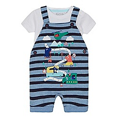bluezoo - Baby boys' blue striped dinosaur print dungarees and white bodysuit set