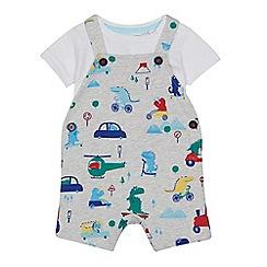 bluezoo - Baby boys' grey dinosaur print dungarees and white bodysuit set