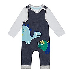 bluezoo - Baby boys' blue dinosaur applique dungarees and white bodysuit set