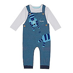 bluezoo - Baby boys' blue tiger applique dungarees and bodysuit set