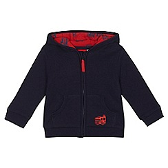 bluezoo - Baby boys' navy fire engine applique zip through hoodie