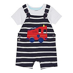 bluezoo - Baby boys' navy striped fire engine applique dungarees and white bodysuit set