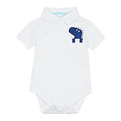 bluezoo - Babies white dinosaur pocket polo bodysuit
