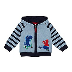 bluezoo - Baby boys' light blue dinosaur applique hooded cardigan