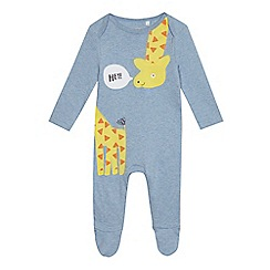 bluezoo - Babies' blue giraffe applique sleepsuit