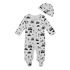 bluezoo - 'Baby boys' grey transport print sleepsuit with a hat