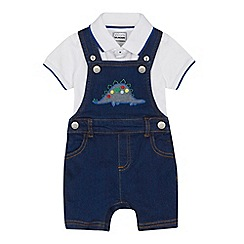 bluezoo - 'Baby boys' blue denim dinosaur applique dungarees and white bodysuit set