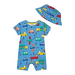 bluezoo - 'Baby boys' blue transport print romper suit and hat set