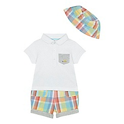 bluezoo - 'Baby boys' multi-coloured checked polo shirt, hat and shorts set