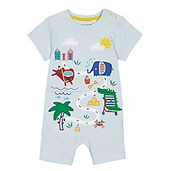 bluezoo - 'Baby boys' light blue beach scene print romper suit