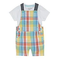 bluezoo - 'Baby boys' multi-coloured checked dungarees and t-shirt set