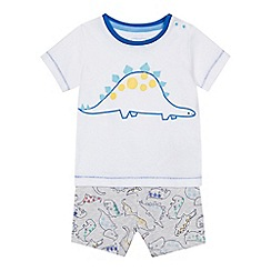 bluezoo - 'Baby boys' white dinosaur print t-shirt and shorts set