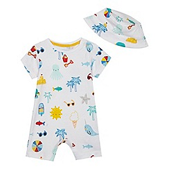 bluezoo - 'Babies' white seaside print jersey romper suit and hat set