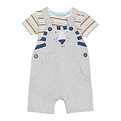 bluezoo - 'Baby boys' grey tiger applique dungarees and striped bodysuit set