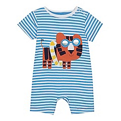 bluezoo - 'Baby boys' blue striped tiger applique romper suit