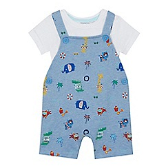 bluezoo - 'Baby boys' blue beach animal print dungarees and white bodysuit set