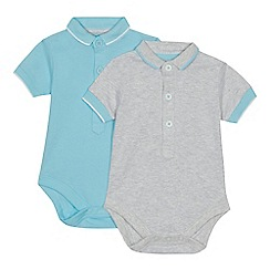 bluezoo - 'Set of 2 babies' grey and blue bodysuits