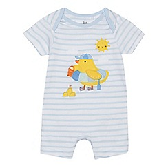bluezoo - 'Babies' white striped duck applique romper suit