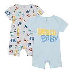 bluezoo - '2 pack baby boys' blue beach print romper suits