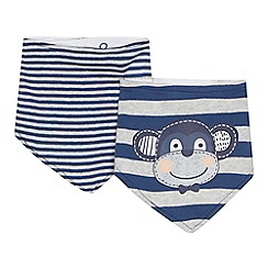 bluezoo - '2 pack babies' navy striped and monkey print bibs