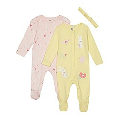 bluezoo - Baby girls' pink and yellow bunny sleepsuits and headband set