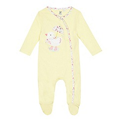 bluezoo - Babies' yellow duck applique sleepsuit