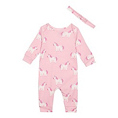 bluezoo - 'Baby girls' pink unicorn print sleepsuit with a headband