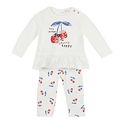 bluezoo - Baby girls' off white cherry applique top and bottoms set