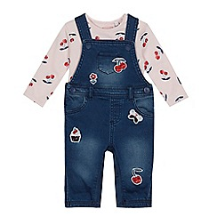 bluezoo - Baby girls' navy cherry applique dungarees and top set