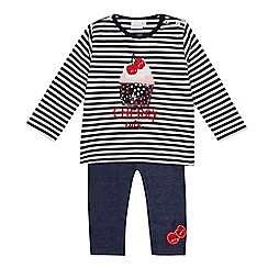 bluezoo - Baby girls' navy cherry applique top and leggings set