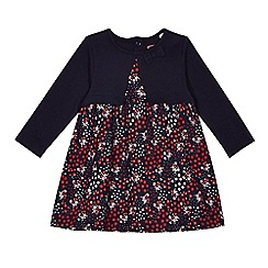 bluezoo - Baby girls' navy floral print mock dress