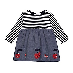 bluezoo - Baby girls' navy striped cherry applique dress
