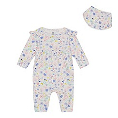 bluezoo - Baby girls' floral print sleepsuit and bib set