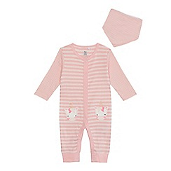 bluezoo - Baby girls' pink striped unicorn applique cotton long sleeve sleepsuit and bib set