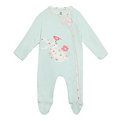bluezoo - Baby girls' pale green bunny applique sleepsuit
