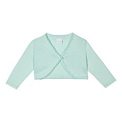 bluezoo - 'Baby girls' aqua pointelle cardigan