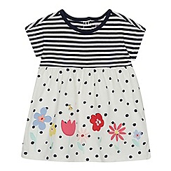 bluezoo - Baby Girls' Navy Floral Embroidered Dress
