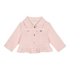 bluezoo - Baby girls' pink frilled trim denim jacket