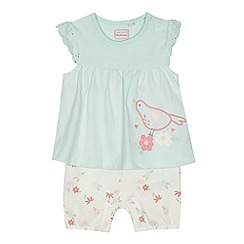 bluezoo - 'Baby girls' aqua floral applique mockable romper