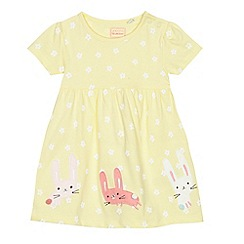 bluezoo - Baby girls' yellow flower print bunny applique dress