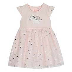 bluezoo - 'Baby girls' pink unicorn applique dress