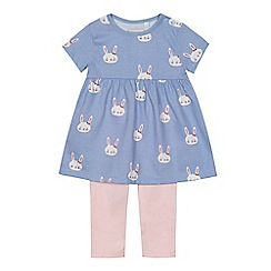 bluezoo - Baby girls' blue bunny print top and leggings set