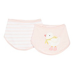 bluezoo - 'Set of 2 baby girls' pink duck and striped bibs