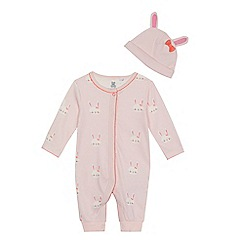 bluezoo - 'Baby girls' pink bunny print long sleeve sleepsuit and hat set