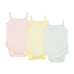 bluezoo - 'Set of 3 baby girls' assorted heart pointelle bodysuits