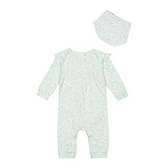 bluezoo - 'Baby girls' green heart pointelle floral print cotton long sleeve sleepsuit and bib set