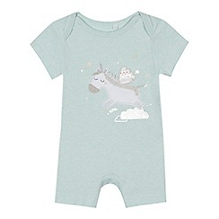 bluezoo - 'Baby girls' light green unicorn applique romper suit