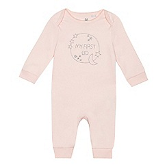 bluezoo - Baby girls' pink 'My First Eid' long sleeve sleepsuit